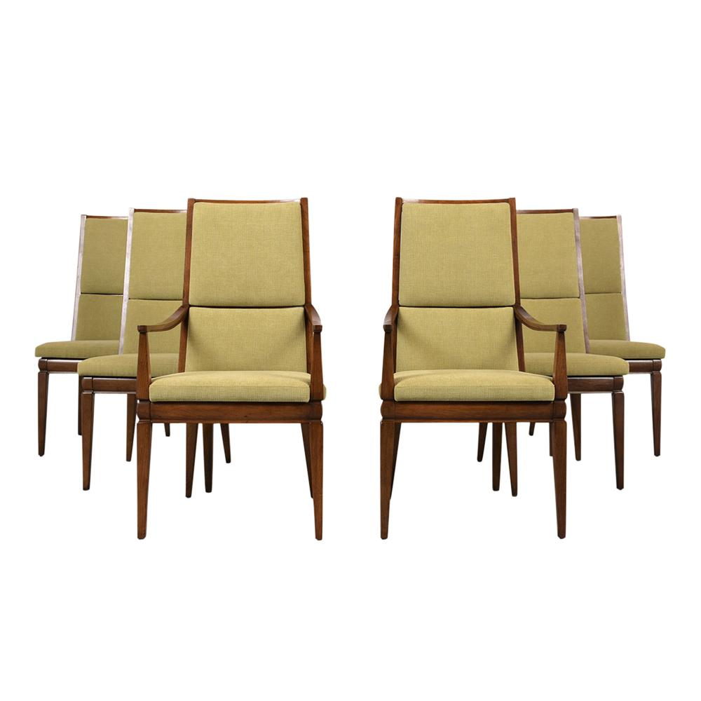 Set Of 6 Mid Century Modern High Back Dining Chairs