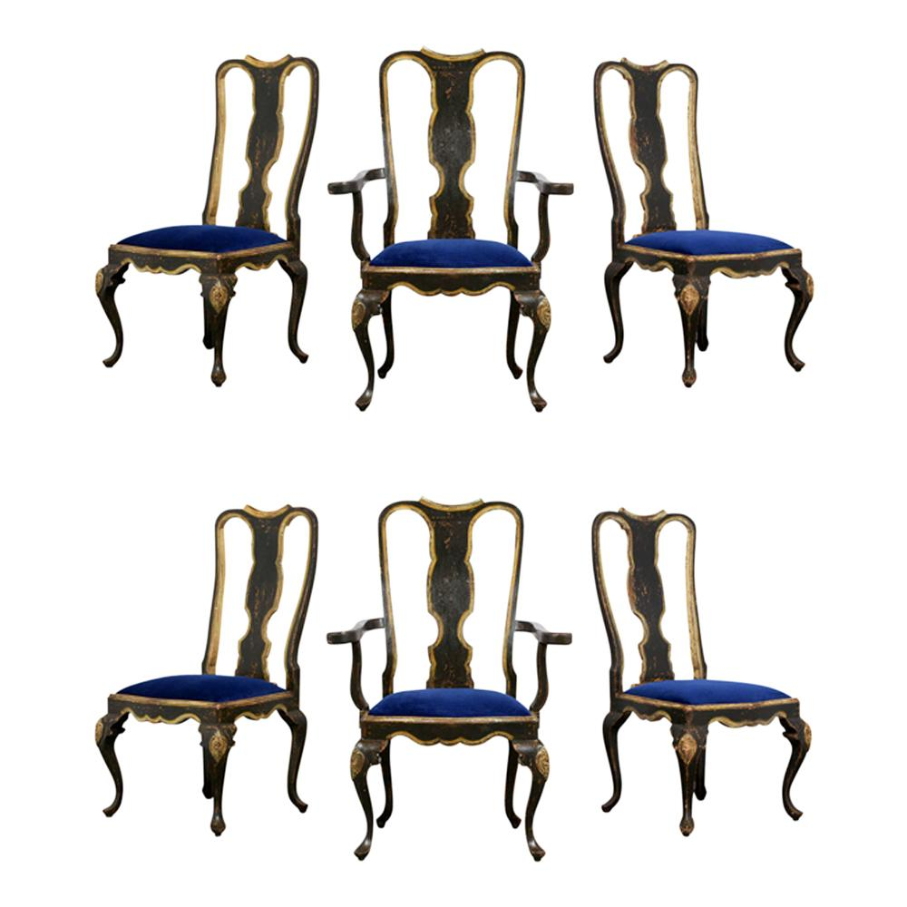 Phenomenal Hand Painted Portugueses Set Of Six Queen Anne Style Dining Chairs Creativecarmelina Interior Chair Design Creativecarmelinacom
