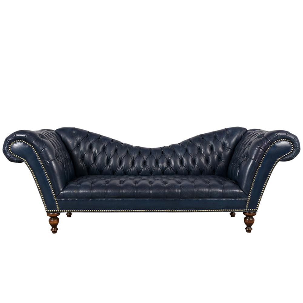 - English Style Chesterfield Tufted Leather Sofa - Castle Antiques