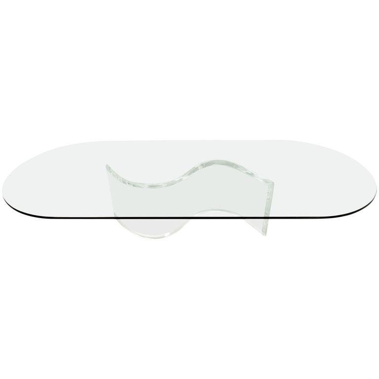 Lucite Coffee Table.Vintage Glass Coffee Table With Lucite S Shape Base