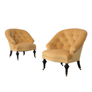 Set of two English Style Tufted Lounge Chairs Complete Restoration