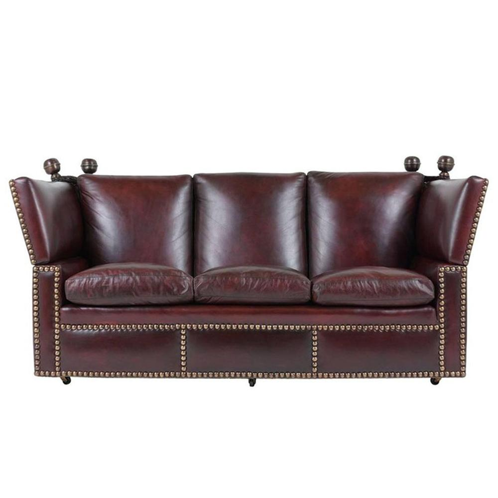 Grand Neoclical Style Comfortable Three Seat Leather Sofa