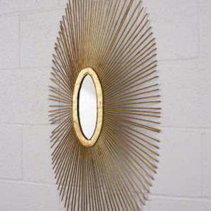 1990-Sunburst-Oval-Mirror, sunburst, mirror, mid-century, castle-antiques, castle, antiques, mirror, gold, north-hollywood, furniture, antiques, art