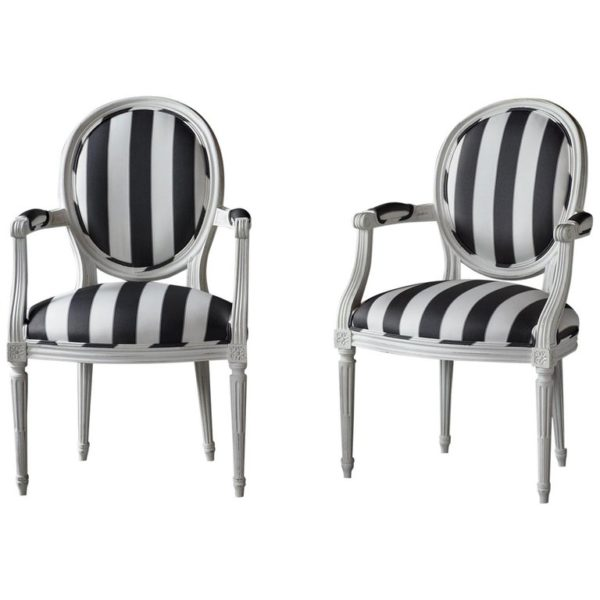 Castle-Antiques, Castle, Antiques, Black-White, Chairs, Armchairs, Pair-of-French-Louis-XVI-Style-Painted-Arm-Chairs, French, LouisXVI