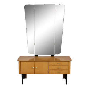 Vanity, Circa 1960, Mirror, Maple, Wood, Maple, Italian, Brass, Country