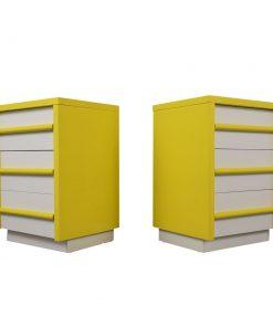 Pair of Nightstands, American, Mid century, Modern, Painted, Lacquered, Drawers