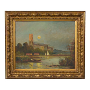 Castle_Antiques, Paintings, Traditional-Painting, Boat-Painting, River-Painting, Italian, Art, Scenery, Gilt