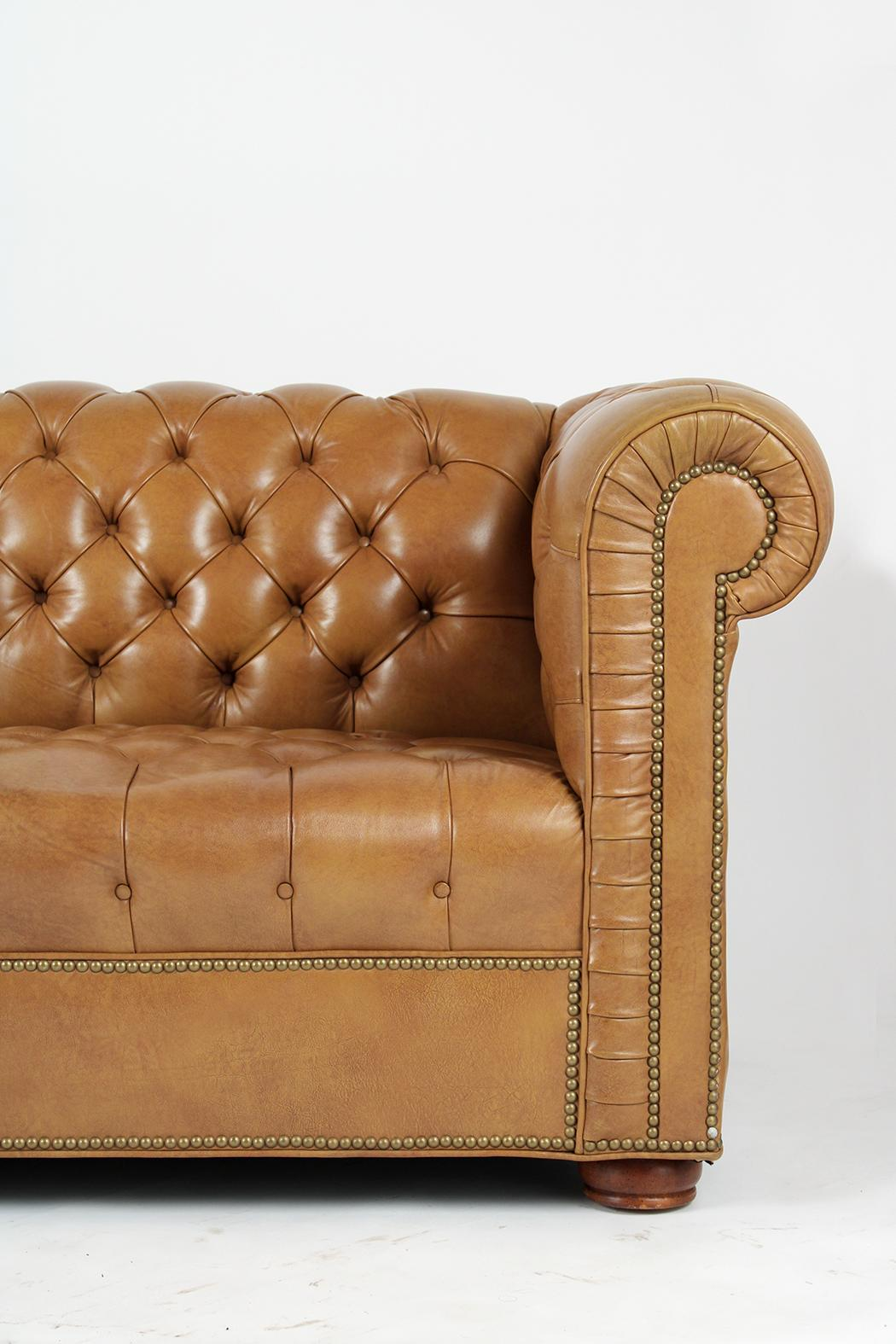 Vintage Traditional Chesterfield Leather Sofa